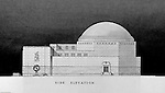 Pittsburgh PA:  View of a rendering created by J.A. Mitchell of the new Buhl Planetarium.  This view is of the right side of building, side elevation  The project was completed in 1939.  The Buhl Planetarium was built with monies from the Buhl Foundation; a foundation created by the wealthy North Side clothier Henry Buhl of Boggs and Buhl department store fame.  Brady Stewart was selected for the job due to his specialized equipment; an 8x10 Dierdorff camera, and his expertise in lighting and photographing large renderings and drawings.