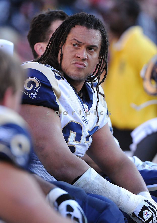 JACOB BELL, of the St. Louis Rams, in action during the Rams game against the San Francisco 49ers on December 4, 2011 at Candlestick Park in San Francisco, CA. The 49ers beat the Rams 26-0.