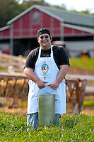 Cheesemaker Cody Tavares of Maui's Surfing Goat Dairy