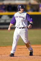 Kyle Roller #19 of the East Carolina Pirates takes his lead off of second base versus the Virginia Cavaliers at Clark-LeClair Stadium on February 19, 2010 in Greenville, North Carolina.   Photo by Brian Westerholt / Four Seam Images