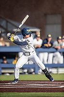 Michigan Wolverines shortstop Jack Blomgren (2) at bat against the Rutgers Scarlet Knights on April 26, 2019 in the NCAA baseball game at Ray Fisher Stadium in Ann Arbor, Michigan. Michigan defeated Rutgers 8-3. (Andrew Woolley/Four Seam Images)