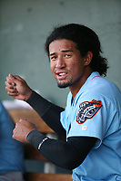 Jahmai Jones (19) of the Inland Empire 66ers in the dugout during a game against the Lancaster JetHawks at The Hanger on September 3, 2017 in Lancaster, California. Lancaster defeated Inland Empire, 5-4. (Larry Goren/Four Seam Images)