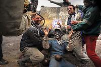 Feb. 27, 2011 - Galaxidi, Greece: Revellers participate in a flour war to celebrate 'clean Monday', a day that marks the end of the carnival season and the start of the 40-day Lent period of the Orthodox Easter (Foto Insidefoto / Maro Kouri / Anatomica Press) .A Galaxidi, in Grecia, si è svolta la battaglia della farina, Clean Monday o Pure Monday, che segna la fine del carnevale..ITALY ONLY