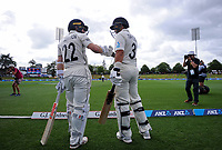 NZ's Ross Taylor and Kane Williamson walk out for day five of the international cricket 2nd test match between NZ Black Caps and England at Seddon Park in Hamilton, New Zealand on Tuesday, 3 December 2019. Photo: Dave Lintott / lintottphoto.co.nz