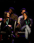 """One Life To Live Renee Elise Goldsberry (R) who stars in Broadway's """"Hamilton - The Musical"""" with Phillipa Soo, Okieriete Onadawan, Jonathan Groff - all attending the first ever 3-day Broadway Con on January 22 - 24, 2016 at the Hilton Hotel, New York City, New York.  (Photo by Sue Coflin/Max Photos)"""