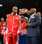 MIAMI, FL - JULY 10: Argenis Mendez (red short) and Mike Tyson in the ring at the Iron Mike Judgement Day boxing match. Barthelemy won a unanimous decision over Mendez and captured the International Boxing Federation junior-lightweight title. at AmericanAirlines Arena on July 10, 2014 in Miami, Florida.  (Photo by Johnny Louis/jlnphotography.com)