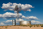 Large Aermotor windmill pumps water to metal tanks to water grazing livestock on the open range in southeast Utah.