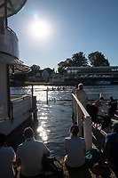 """Henley on Thames, United Kingdom, 29th June 2018, Friday, """"Henley Royal Regatta"""", Spectators, watch the Qualifying race, [Time Trails], 401 Surbiton High School 'A', from between, the, viewing platform and """"floating grandstand"""", Henley Reach, River Thames, Thames Valley, England, © Peter SPURRIER, 29/06/2018"""