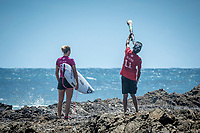 Snapper Rocks ,  Coolangatta QLD/AUS  (Monday, March, 2018) Stephanie Gilmore (AUS) with local identity Russell.- The Roxy Pro ran today in clean 1 metre waves at Snapper Rocks.<br /> Photo: joliphotos.com
