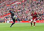 Liverpool's Andy Robertson puts in a cross during the premier league match at the Anfield Stadium, Liverpool. Picture date 19th August 2017. Picture credit should read: David Klein/Sportimage