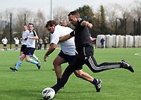 Thursday 11 April 2013<br /> Pictured: Scout Erik Larsen (R) against sports reporter Riath Al-Samarrai (L)<br /> Re: Friendly game, Swansea City FC coaching staff v sports reporters at the Swansea City FC training ground. Final score 10-4.
