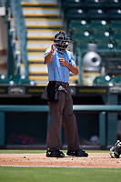 Umpire Ben Fernandez calls a strike during a Florida State League game between the St. Lucie Mets and Bradenton Marauders on July 28, 2019 at LECOM Park in Bradenton, Florida.  Bradenton defeated St. Lucie 7-3.  (Mike Janes/Four Seam Images)