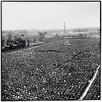 Hundreds of thousands gather in People's Stadium for a memorial service to mourn Chairman Mao, who died on September 9th; Harbin, Heilongjiang Province, September 18, 1976