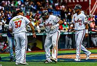 Rene Reyes celebra carrera con su equipo<br /> Caribes de Anzo&aacute;tegui de Venezuela.   <br /> ..<br /> <br /> Aspectos del segundo d&iacute;a de actividades de la Serie del Caribe con el partido de beisbol  &Aacute;guilas Cibae&ntilde;as de Republica Dominicana contra Caribes de Anzo&aacute;tegui de Venezuela en estadio Panamericano en Guadalajara, M&eacute;xico,  s&aacute;bado 3 feb 2018. (Foto  / Luis Gutierrez)