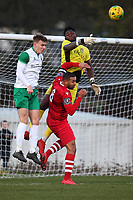 Amadou Tangara of Bognor punches clear from Lewwis Spence of Hornchurch during Hornchurch vs Bognor Regis Town, BetVictor League Premier Division Football at Hornchurch Stadium on 30th November 2019