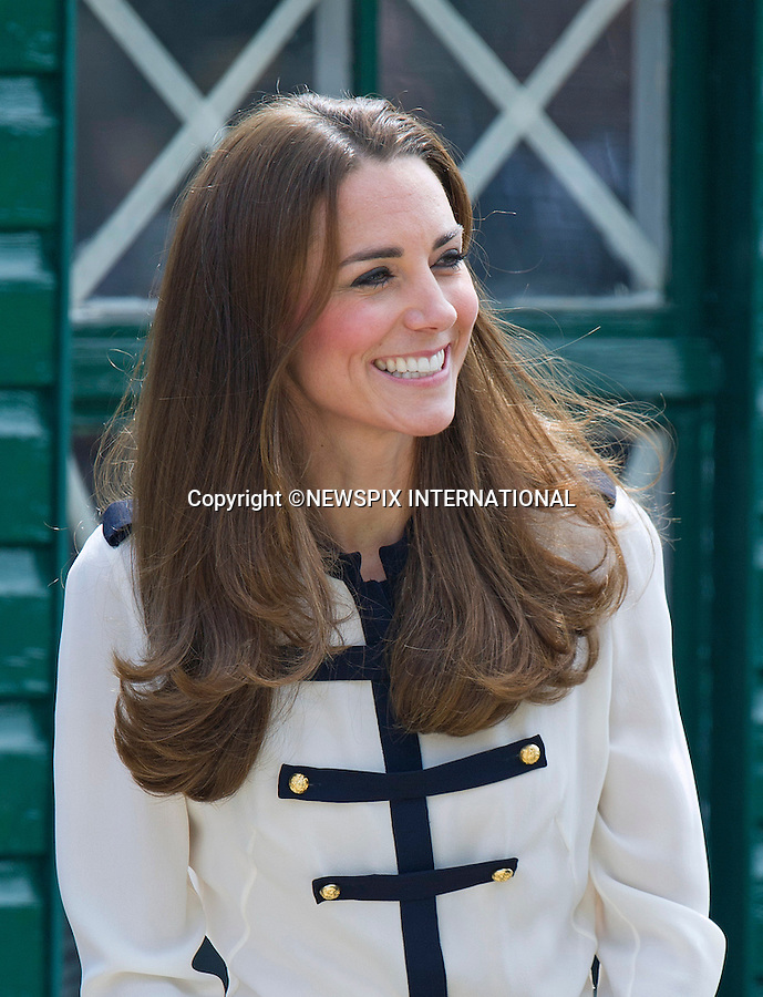 18.06.2014: Milton Keyne, ENGLAND: KATE VISITS BLETCHLEY PARK<br /> The Duchess of Cambridge visited Bletchley Park to mark the completion of the year-long restoration project, which has restored the site to its World War II appearance. During the visit, Her Royal Highness met WWII codebreaker veterans who worked at the Government Code and Cypher School during WWII, where encrypted messages sent by the Navy, Army and Air Forces of Germany and its allies were decrypted, translated and analysed for vital intelligence.<br /> She also visited a hut in which her Grandmother worked.<br /> Mandatory Photo Credit: Dias/NEWSPIX INTERNATIONAL<br /> <br /> **ALL FEES PAYABLE TO: &quot;NEWSPIX INTERNATIONAL&quot;**<br /> <br /> PHOTO CREDIT MANDATORY!!: NEWSPIX INTERNATIONAL(Failure to credit will incur a surcharge of 100% of reproduction fees)<br /> <br /> IMMEDIATE CONFIRMATION OF USAGE REQUIRED:<br /> Newspix International, 31 Chinnery Hill, Bishop's Stortford, ENGLAND CM23 3PS<br /> Tel:+441279 324672  ; Fax: +441279656877<br /> Mobile:  0777568 1153<br /> e-mail: info@newspixinternational.co.uk