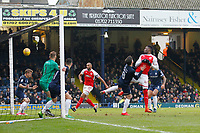 Devante Cole of Fleetwood Town sees his header cleared off the line during the Sky Bet League 1 match between Southend United and Fleetwood Town at Roots Hall, Southend, England on 13 January 2018. Photo by Carlton Myrie.