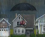House covered with an insurance umbrella