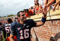 Virginia quarterback Michael Rocco (16) greets the fans after the 17-16 victory over Penn State Saturday Sept. 8, 2012 during an NCAA football game in Charlottesville, VA. Photo/Andrew Shurtleff)