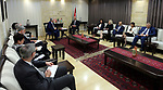 Palestinian Prime Minister Rami Hamdallah meets with President of Quebec County Government of Canada Philippe Cuellar, in the West Bank city of Ramallah on May 21, 2017. Photo by Prime Minister Office