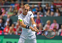 Switserland, Genève, September 20, 2015, Tennis,   Davis Cup, Switserland-Netherlands, Thiemo de Bakker (NED)<br /> Photo: Tennisimages/Henk Koster