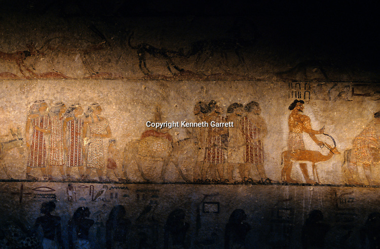 Tomb of  Khnumhotep II, painting of Bedouins bringing tribute, Beni Hasan, Egypt, Middle Kingdom