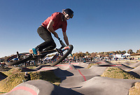NWA Democrat-Gazette/CHARLIE KAIJO Connor Williamson of the group All Bikes All Day NWA performs a jump, Sunday, November 3, 2019 during the Runway Bike Park's first birthday celebration at the Jones Center's Runway Bike Park in Springdale.<br /> <br /> Riders took to the pump track and bicycle playground to celebrate along with community bike groups Buddy Pegs, Groove Skate Shop and All Bikes All Day NWA