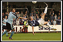 28/9/02       Copyright Pic : James Stewart                     .File Name : stewart-falkirk v st j'stone 09.LEE MILLER FIRES HIS OVER HEAD SHOT JUST OVER THE BAR.....James Stewart Photo Agency, 19 Carronlea Drive, Falkirk. FK2 8DN      Vat Reg No. 607 6932 25.Office : +44 (0)1324 570906     .Mobile : + 44 (0)7721 416997.Fax     :  +44 (0)1324 570906.E-mail : jim@jspa.co.uk.If you require further information then contact Jim Stewart on any of the numbers above.........