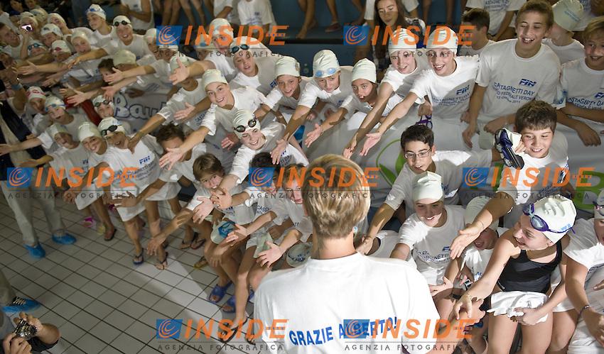 Verona - Italy 12/10/2011.Commemorazione Alberto Castagnetti.A due anni dalla scomparsa del Commissario Tecnico del Nuoto Azzurro, si ritrovano a Verona, presso il centro federale a lui intitolato, atleti, tecnici e dirigenti legati a Castagnetti nella sua carriera..Federica pellegrini.Photo G.Scala/Deepbluemedia.eu/Insidefoto