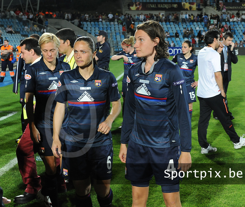 Uefa Women 's Champions League Final 2010 at  Coliseum Alfonso Perez in Getafe , Madrid : Olympique Lyon - Turbine Potsdam : Amelie Ryback , Simone Gomes Jatoba en Ingvild Stensland ..foto DAVID CATRY / Vrouwenteam.be