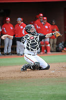 Rutgers University Scarlet Knights catcher R.J. Devish (16) during game game 1 of a double header against the University of Houston Cougers at Bainton Field on April 5, 2014 in Piscataway, New Jersey. Rutgers defeated Houston 7-3.      <br />  (Tomasso DeRosa/ Four Seam Images)
