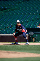 Kyle Karros (23) during the Under Armour All-America Game, powered by Baseball Factory, on July 22, 2019 at Wrigley Field in Chicago, Illinois.  Kyle Karros attends Mira Costa High School in Los Angeles, California and is committed to UCLA.  (Mike Janes/Four Seam Images)