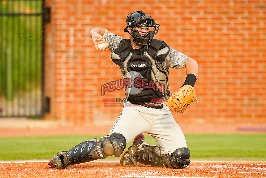 VMI Keydets catcher Matt Winn #8 on defense against the High Point Panthers at Willard Stadium on March 30, 2012 in High Point, North Carolina.  The Panthers defeated the Keydets 11-3.  (Brian Westerholt/Four Seam Images)