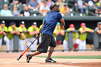 Shortstop Pokey Reese swings at a pitch during a game against the soldiers from Fort Jackson as part of the All Star Game festivities at Spirit Communications Park on June 19, 2017 in Columbia, South Carolina. The soldiers from Fort Jackson defeated the Celebrities 1-0. (Tony Farlow/Four Seam Images)