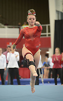 NWA Democrat-Gazette/ANDY SHUPE<br />Arkansas' Mia Bargiacchi competes Friday, Jan. 12, 2018, in the floor portion of the 11th-ranked Razorbacks' meet with sixth-ranked Kentucky in Barnhill Arena in Fayetteville. Visit nwadg.com/photos to see more photographs from the meet.