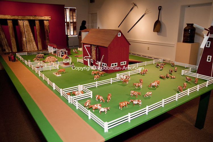 TORRINGTON, CT, 09  JULY 15 - Hobbywood Farm, a mineature farm created by Robert R. Richard in his Torrington garage is on exhibit at the Torrington Historical Society. Richard hand carved the animals and farmers from wood.  Alec Johson/ Republican-American