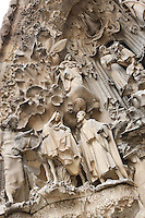 Flight from Egypt, sculptures by Llorenç Matamala I Piñol with touches of Carles Mani; Wise man with the child, sculptures by Llorenç Matamala I Piñol, Hope hallway, Nativity façade, La Sagrada Familia, Barcelona, Catalonia, Spain, Roman Catholic basilica, built by Antoni Gaudí (Reus 1852 ? Barcelona 1926) from 1883 to his death. Still incomplete. Picture by Manuel Cohen