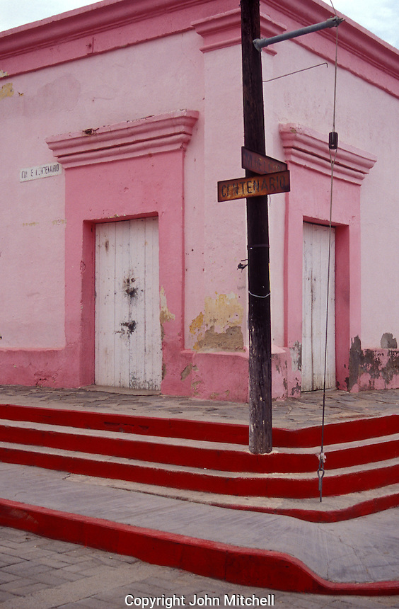Street corner in the Spanish colonial town of Todos Santos , Baja California Sur, Mexico