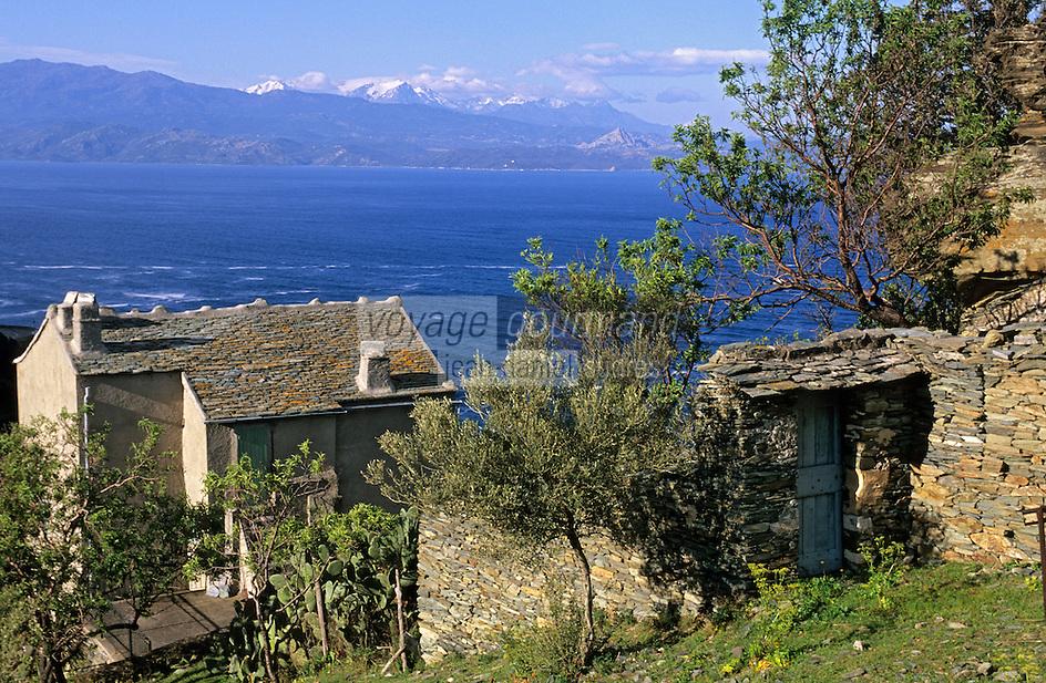 Europe/France/Corse/2B/Haute-Corse/Cap Corse/Nonza: Détail d'une maison