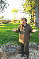 Comte (count) Laurent de Bosredon, owner of Chateau Belingard standing in front of his chateau in autumn evening sunshine Chateau Belingard Bergerac Dordogne France