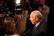Bill White, the 2010 Democratic candidate in the Texas governors race, speaks to reporters after delivering his concession speech in Houston, Texas.