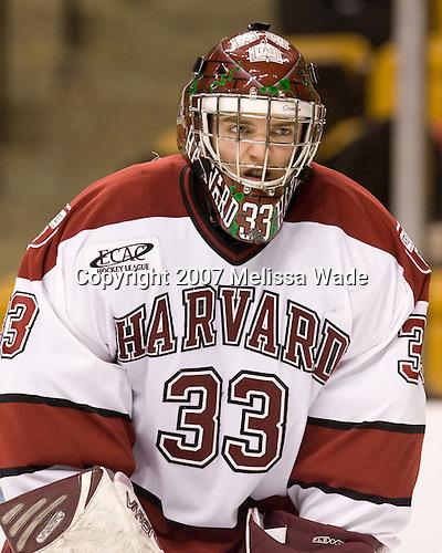 Justin Tobe (Harvard - 33) - The Northeastern University Huskies defeated the Harvard University Crimson 3-1 in the Beanpot consolation game on Monday, February 12, 2007, at TD Banknorth Garden in Boston, Massachusetts.