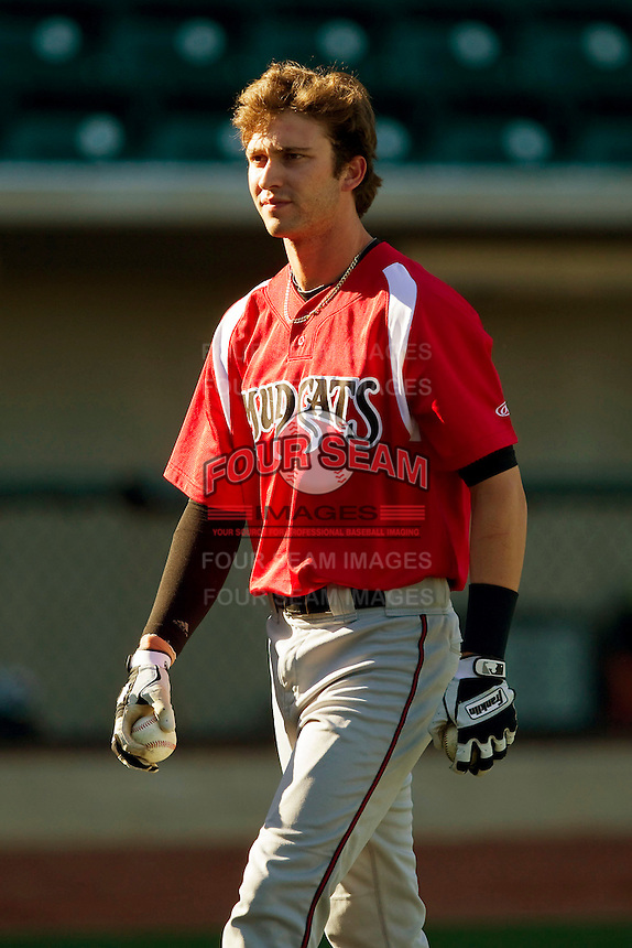 Tyler Naquin (6) of the Carolina Mudcats during batting practice prior to the game against the Winston-Salem Dash at BB&T Ballpark on April 13, 2013 in Winston-Salem, North Carolina.  The Dash defeated the Mudcats 4-1.  (Brian Westerholt/Four Seam Images)