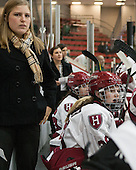 Laura Bellamy (Harvard - Assistant Coach), Abigail Frazer (Harvard - 28) - The Harvard University Crimson defeated the visiting Boston University Terriers 3-1 on Friday, November 22, 2013, at Bright-Landry Hockey Center in Cambridge, Massachusetts.