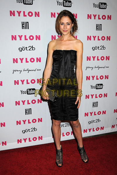 AMANDA CREW.Nylon Magazine's Young Hollywood Party held at the Roosevelt Hotel's Tropicana Bar, Hollywood, California, USA..May 12th, 2010.full length dress clutch bag ankle boots sandals strappy black strapless .CAP/ADM/BP.©Byron Purvis/AdMedia/Capital Pictures.