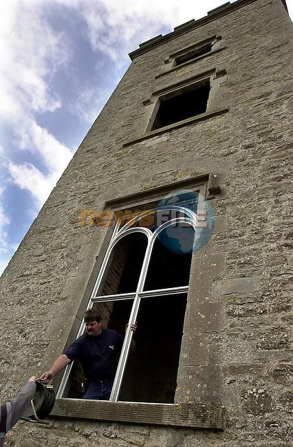 Slane Castle Restoration. putting in the new window frames.Picture: Fran Caffrey/Newsfile