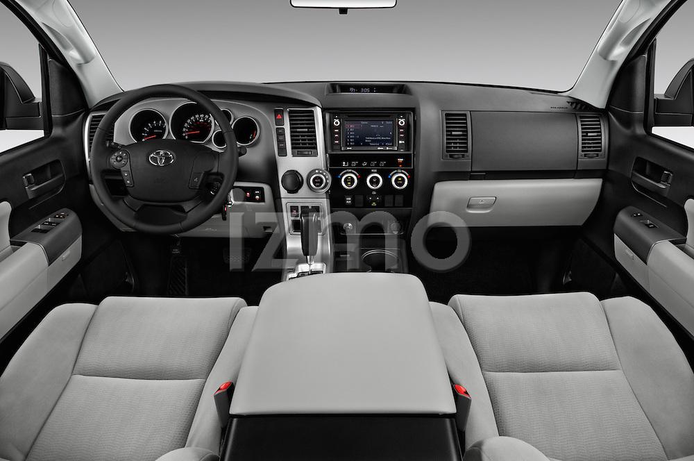 Stock photo of straight dashboard view of 2017 Toyota Sequoia SR5 5 Door SUV Dashboard