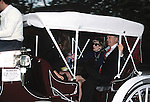 Bette Davis and Robert Osbourne taking a ride along Central Park in a Horse and Carriage on May 1, 1988  in New York City.