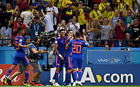 KAZAN - RUSIA, 24-06-2018: Radamel FALCAO jugador de Colombia celebra con sus  compañeros después de anotar un gol a Polonia durante partido de la primera fase, Grupo H, por la Copa Mundial de la FIFA Rusia 2018 jugado en el estadio Kazan Arena en Kazán, Rusia. /  Radamel FALCAO  player of Colombia celebrates with  his teammates after scoring a goal to Polonia during match of the first phase, Group H, for the FIFA World Cup Russia 2018 played at Kazan Arena stadium in Kazan, Russia. Photo: VizzorImage / Julian Medina / Cont