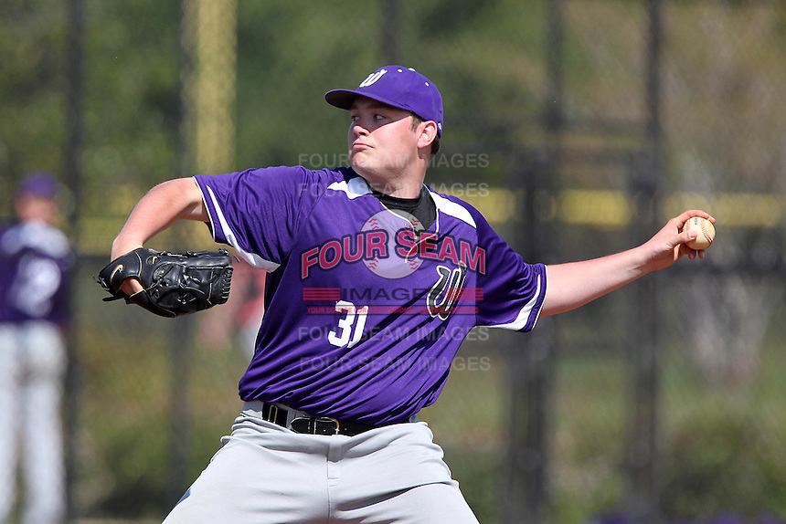 Winona State Warriors pitcher Zach Rickaway #31 delivers a pitch during a game against Slippery Rock at Lake Myrtle Complex on March 15, 2012 in Auburndale, Florida.  Winona defeated Slippery Rock 10-3.  (Mike Janes/Four Seam Images)